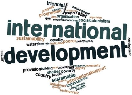 iniciativas: Nube palabra abstracta para el Desarrollo Internacional con etiquetas y t�rminos relacionados Foto de archivo