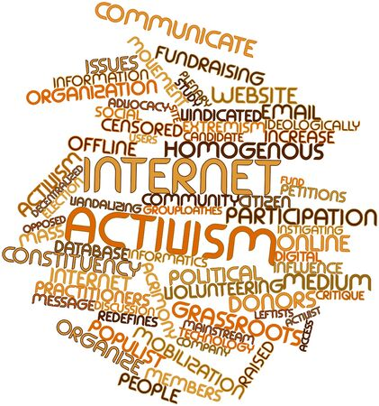 critique: Abstract word cloud for Internet activism with related tags and terms