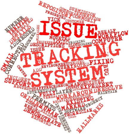 interventions: Abstract word cloud for Issue tracking system with related tags and terms Stock Photo
