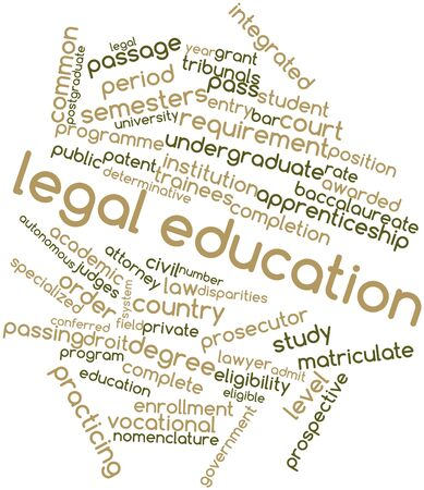tax attorney: Abstract word cloud for Legal education with related tags and terms