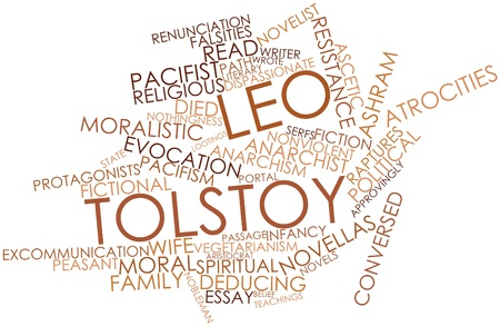 nonviolent: Abstract word cloud for Leo Tolstoy with related tags and terms
