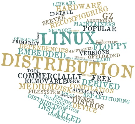 Abstract word cloud for Linux distribution with related tags and terms