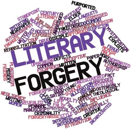 alleged: Abstract word cloud for Literary forgery with related tags and terms