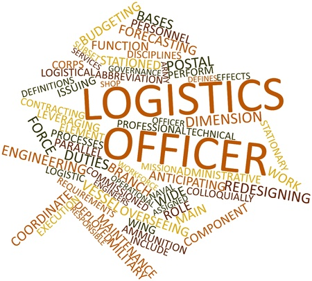 counterparts: Abstract word cloud for Logistics Officer with related tags and terms