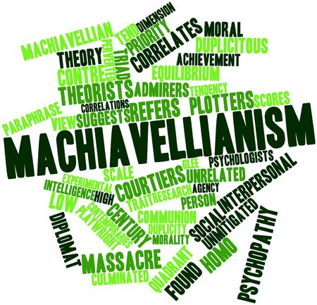 psychopathy: Abstract word cloud for Machiavellianism with related tags and terms Stock Photo