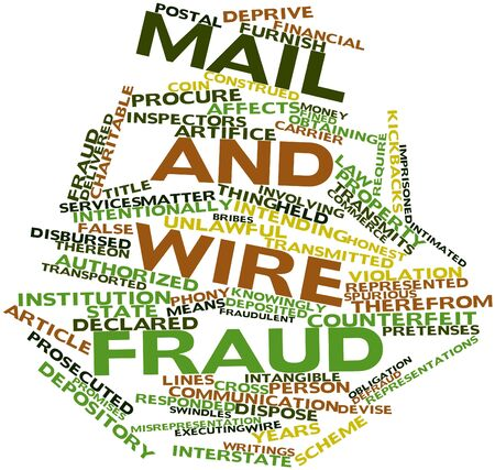 transferred: Abstract word cloud for Mail and wire fraud with related tags and terms