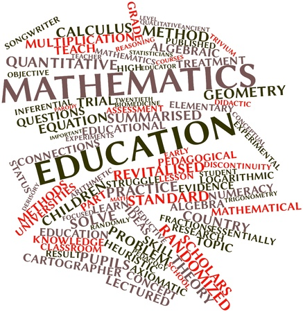 Abstract word cloud for Mathematics education with related tags and terms Foto de archivo
