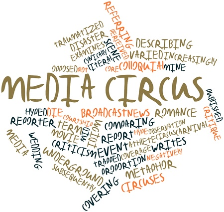 circuses: Abstract word cloud for Media circus with related tags and terms Stock Photo