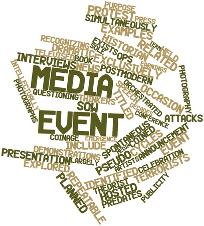 coined: Abstract word cloud for Media event with related tags and terms