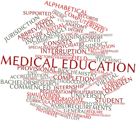 criticised: Abstract word cloud for Medical education with related tags and terms Stock Photo