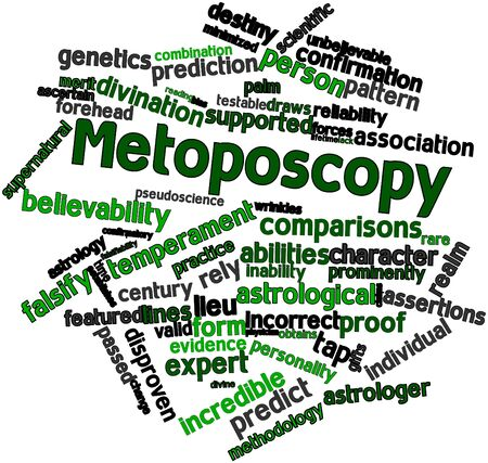 pseudoscience: Abstract word cloud for Metoposcopy with related tags and terms Stock Photo