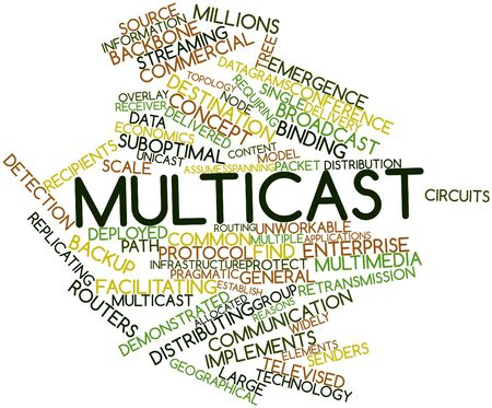 Abstract word cloud for Multicast with related tags and terms Stock Photo - 17427519