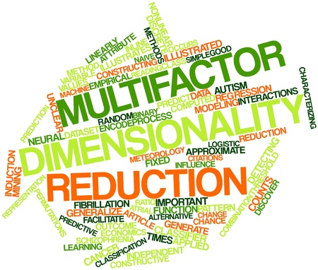 dimensionality: Abstract word cloud for Multifactor dimensionality reduction with related tags and terms