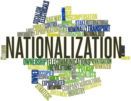 vesting: Abstract word cloud for Nationalization with related tags and terms