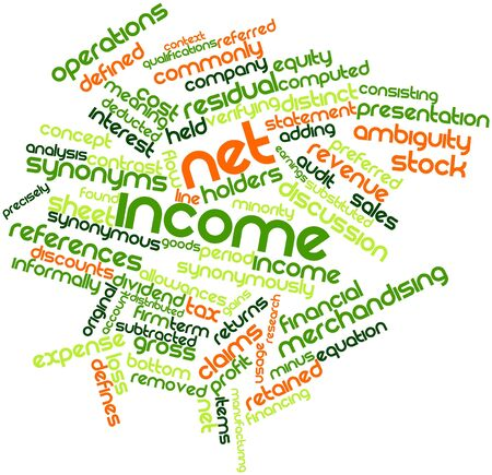 retained: Nube palabra abstracta para ingresos netos con las etiquetas y términos relacionados Foto de archivo
