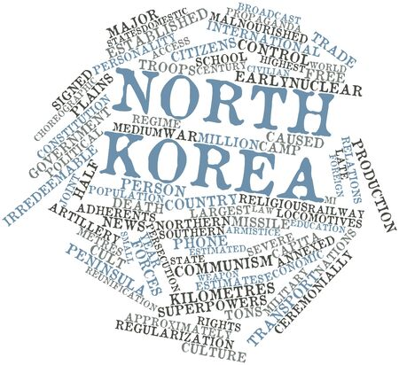 adherents: Abstract word cloud for North Korea with related tags and terms Stock Photo