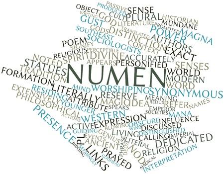 synoniem: Abstract woordwolk voor Numen met gerelateerde tags en voorwaarden