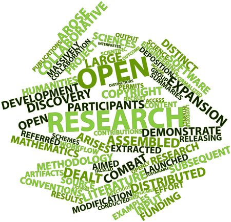 distinctions: Abstract word cloud for Open research with related tags and terms Stock Photo