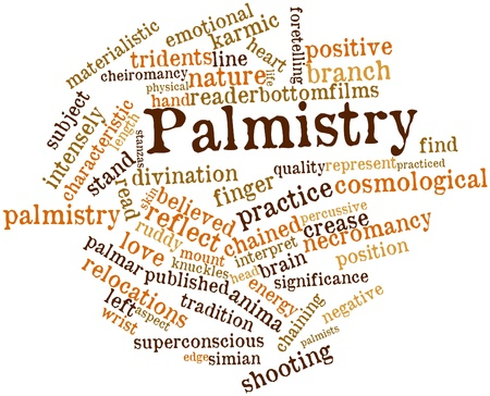 necromancy: Abstract word cloud for Palmistry with related tags and terms Stock Photo
