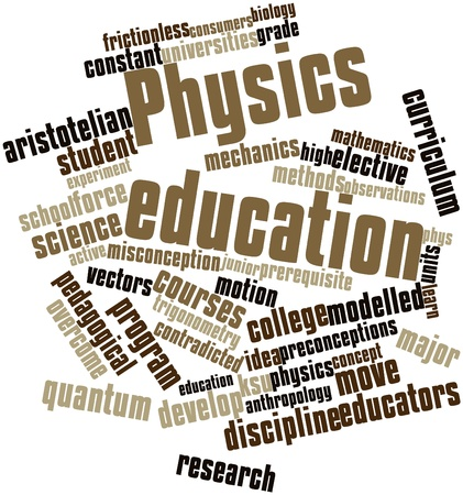 major force: Abstract word cloud for Physics education with related tags and terms