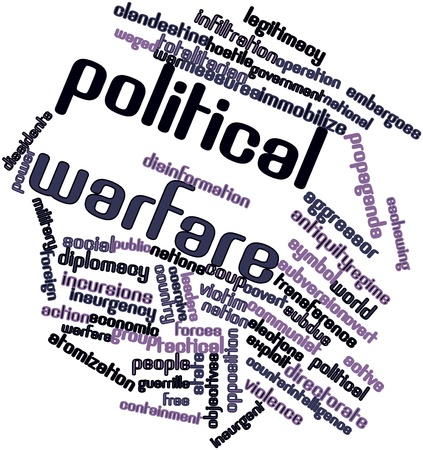 subversion: Abstract word cloud for Political warfare with related tags and terms Stock Photo