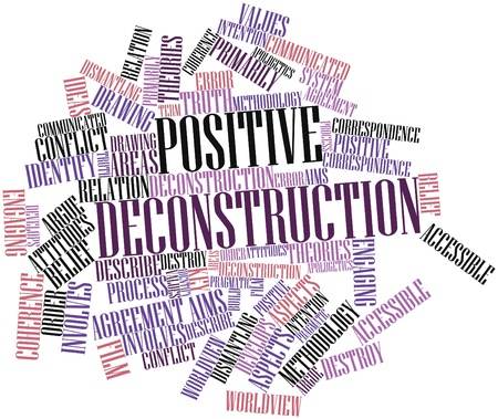 beliefs: Abstract word cloud for Positive deconstruction with related tags and terms Stock Photo