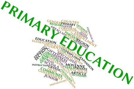 centralised: Abstract word cloud for Primary education with related tags and terms