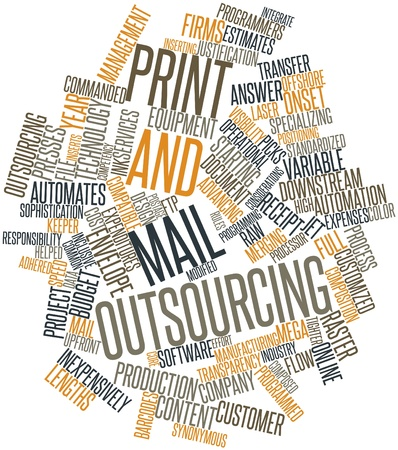 commanded: Abstract word cloud for Print and mail outsourcing with related tags and terms Stock Photo