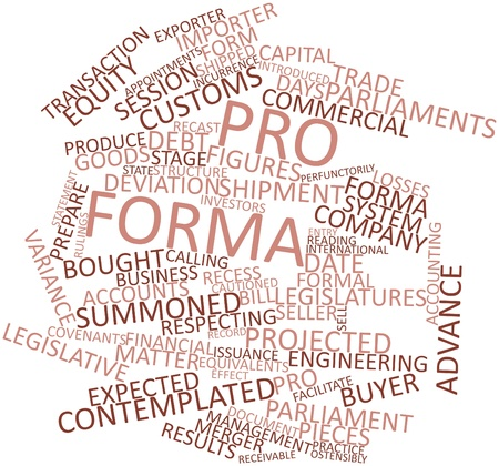 receivable: Abstract word cloud for Pro forma with related tags and terms