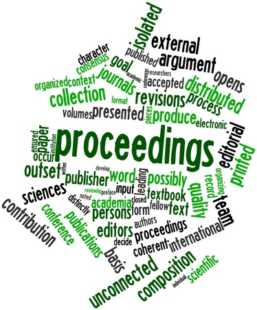 Abstract word cloud for Proceedings with related tags and terms Stock Photo - 17427473