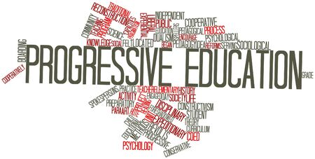 progressive art: Abstract word cloud for Progressive education with related tags and terms Stock Photo