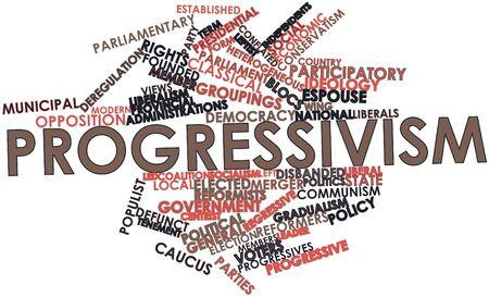 democracia: Nube palabra abstracta para el progresismo con las etiquetas y términos relacionados Foto de archivo