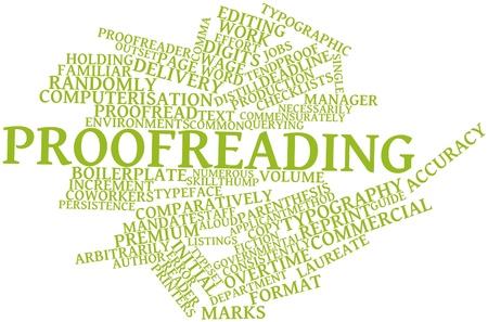 Abstrakt Wort-Wolke für Korrekturlesen mit verwandten Tags und Begriffe