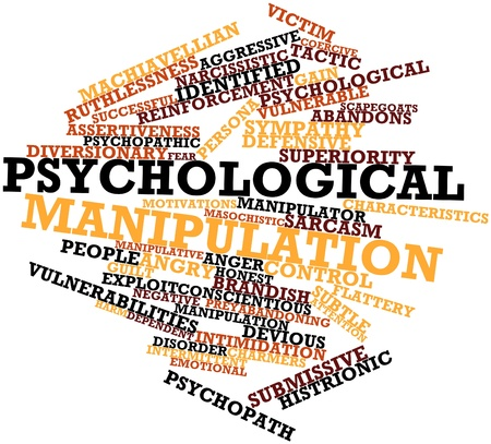 vulnerable: Abstract word cloud for Psychological manipulation with related tags and terms Stock Photo