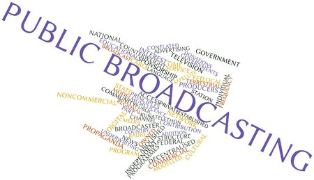 derive: Abstract word cloud for Public broadcasting with related tags and terms Stock Photo