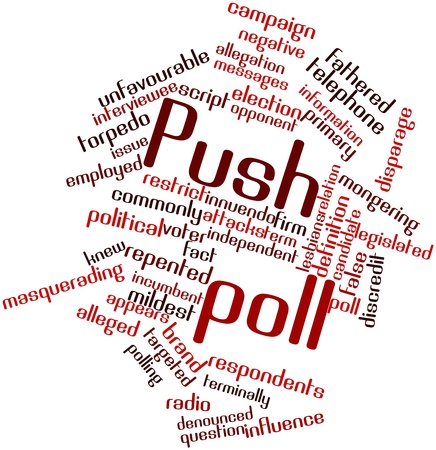 alleged: Abstract word cloud for Push poll with related tags and terms