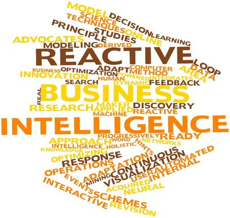 integrates: Abstract word cloud for Reactive business intelligence with related tags and terms Stock Photo