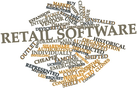 cheaper: Abstract word cloud for Retail software with related tags and terms Stock Photo