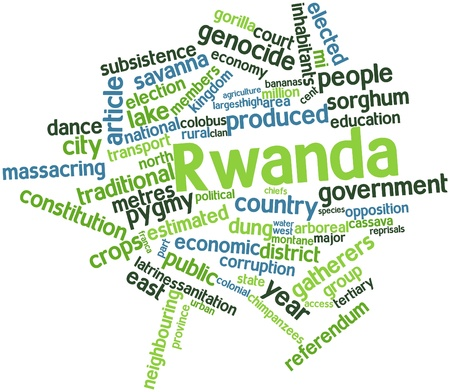 chiefs: Abstract word cloud for Rwanda with related tags and terms Stock Photo