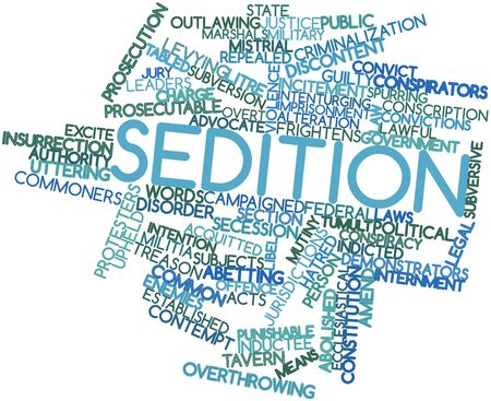 subversive: Abstract word cloud for Sedition with related tags and terms Stock Photo
