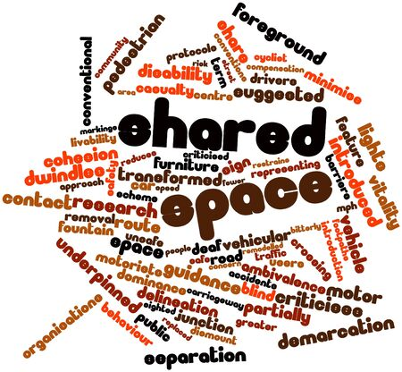 ambivalence: Abstract word cloud for Shared space with related tags and terms Stock Photo