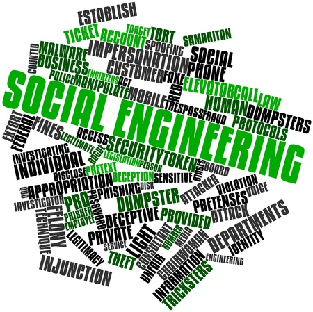 Abstract word cloud for Social engineering with related tags and terms Standard-Bild