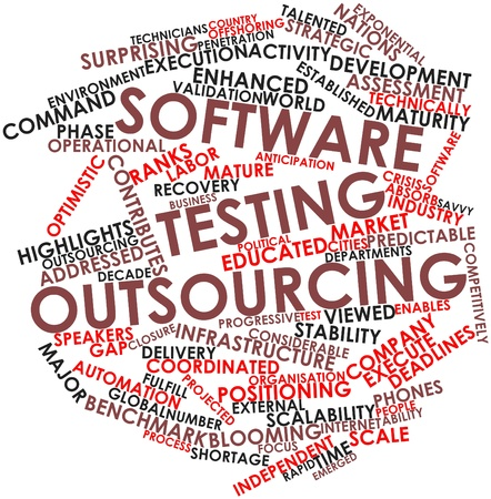Abstract word cloud for Software testing outsourcing with related tags and terms photo