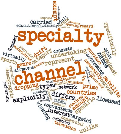 specialty: Abstract word cloud for Specialty channel with related tags and terms