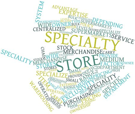 specialty store: Abstract word cloud for Specialty store with related tags and terms