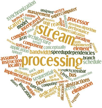 algorithmic: Abstract word cloud for Stream processing with related tags and terms Stock Photo