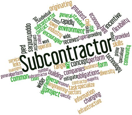 Abstract word cloud for Subcontractor with related tags and terms Stock Photo