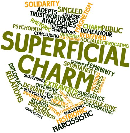 characterised: Abstract word cloud for Superficial charm with related tags and terms