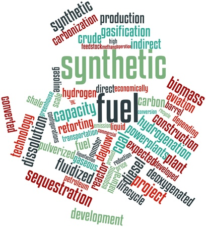 sustainably: Abstract word cloud for Synthetic fuel with related tags and terms Stock Photo