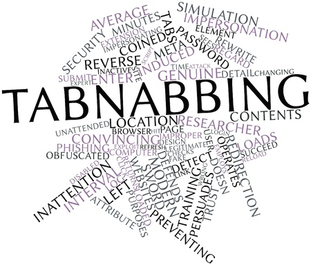 legitimate: Abstract word cloud for Tabnabbing with related tags and terms Stock Photo